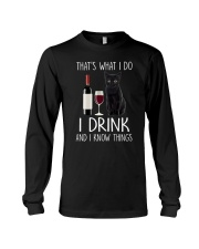 Black cat and drink Long Sleeve Tee thumbnail