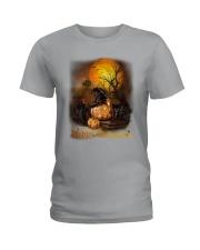 Black Cat Halloween Ladies T-Shirt thumbnail