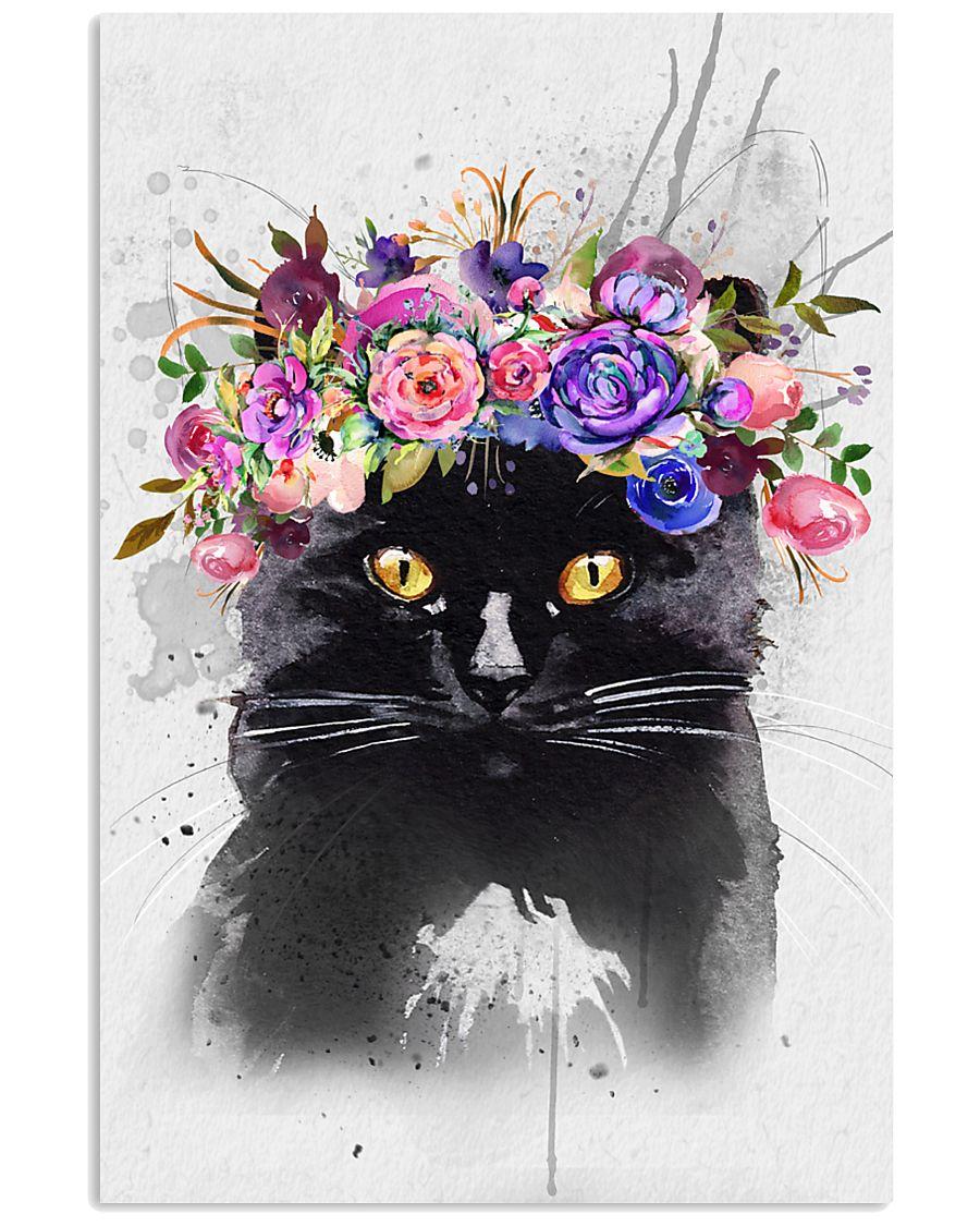Black Cat Flower 11x17 Poster
