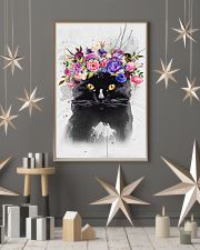 Black Cat Flower 11x17 Poster lifestyle-holiday-poster-1