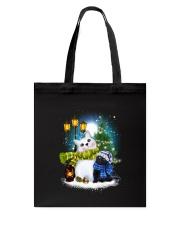 Black cat and snowman Tote Bag thumbnail