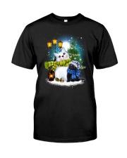Black cat and snowman Classic T-Shirt thumbnail