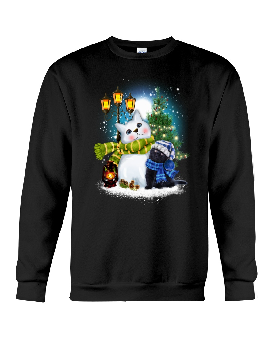 Black cat and snowman Crewneck Sweatshirt