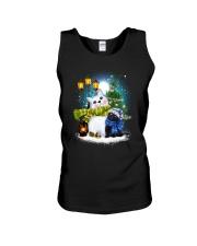 Black cat and snowman Unisex Tank thumbnail