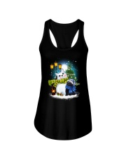 Black cat and snowman Ladies Flowy Tank thumbnail