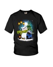Black cat and snowman Youth T-Shirt thumbnail