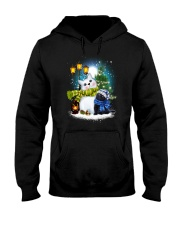 Black cat and snowman Hooded Sweatshirt thumbnail