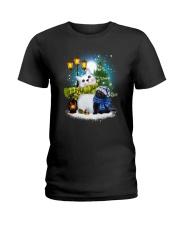 Black cat and snowman Ladies T-Shirt thumbnail