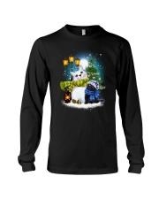 Black cat and snowman Long Sleeve Tee thumbnail
