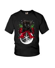 Black cat Christmas Youth T-Shirt thumbnail