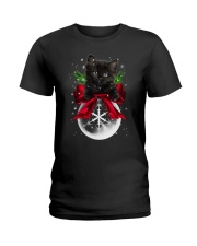 Black cat Christmas Ladies T-Shirt thumbnail