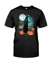 Black cat and moon Halloween Classic T-Shirt front