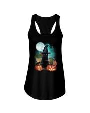 Black cat and moon Halloween Ladies Flowy Tank thumbnail