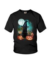 Black cat and moon Halloween Youth T-Shirt thumbnail