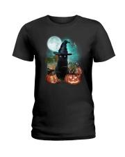 Black cat and moon Halloween Ladies T-Shirt thumbnail