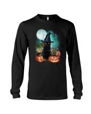 Black cat and moon Halloween Long Sleeve Tee thumbnail