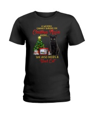 Black cat and Christmas movies Ladies T-Shirt tile