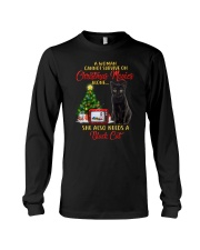 Black cat and Christmas movies Long Sleeve Tee tile