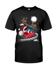 Black Cat Riding Sleigh Classic T-Shirt thumbnail