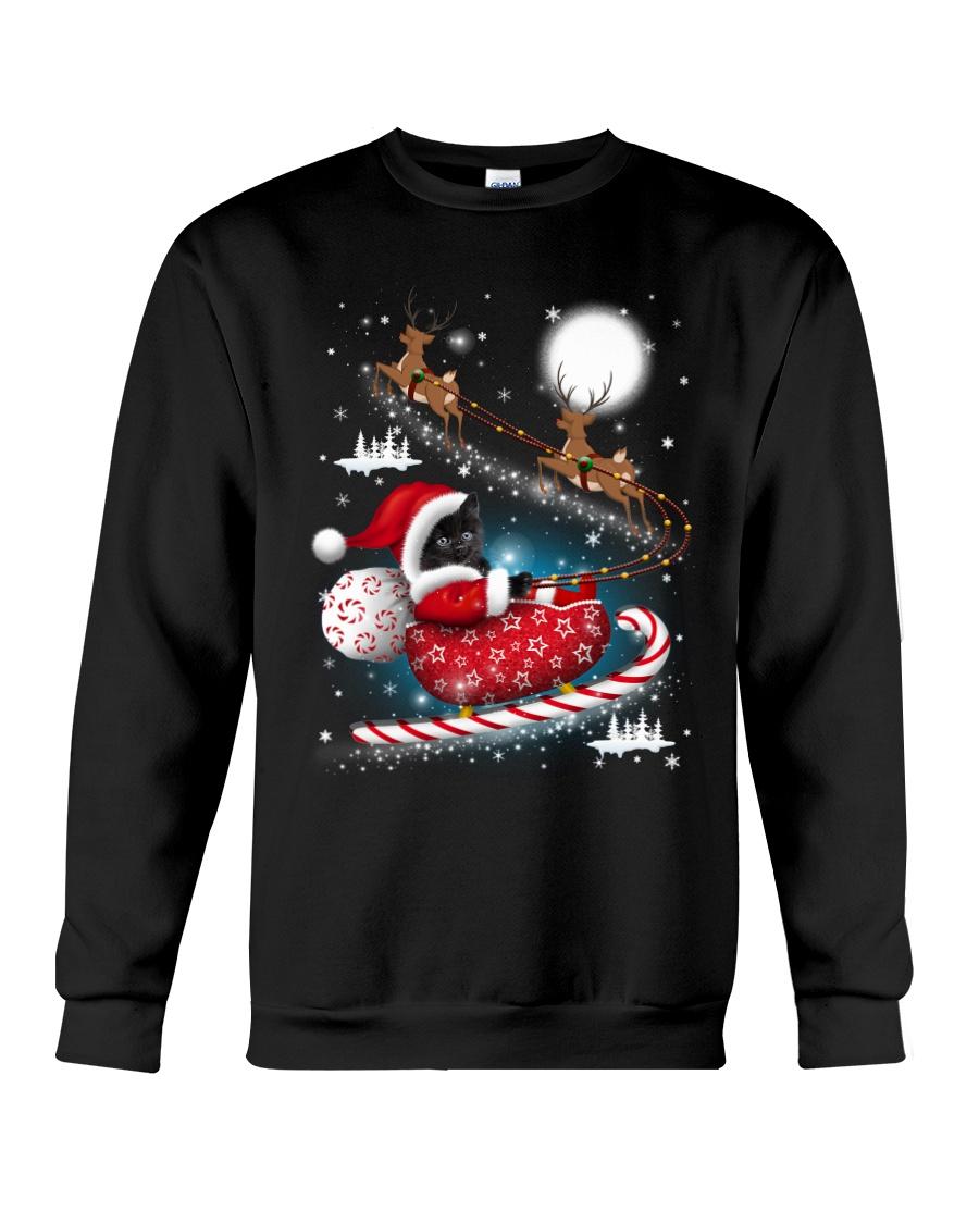 Black Cat Riding Sleigh Crewneck Sweatshirt
