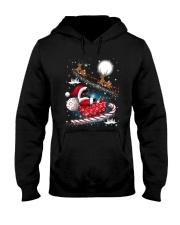 Black Cat Riding Sleigh Hooded Sweatshirt thumbnail