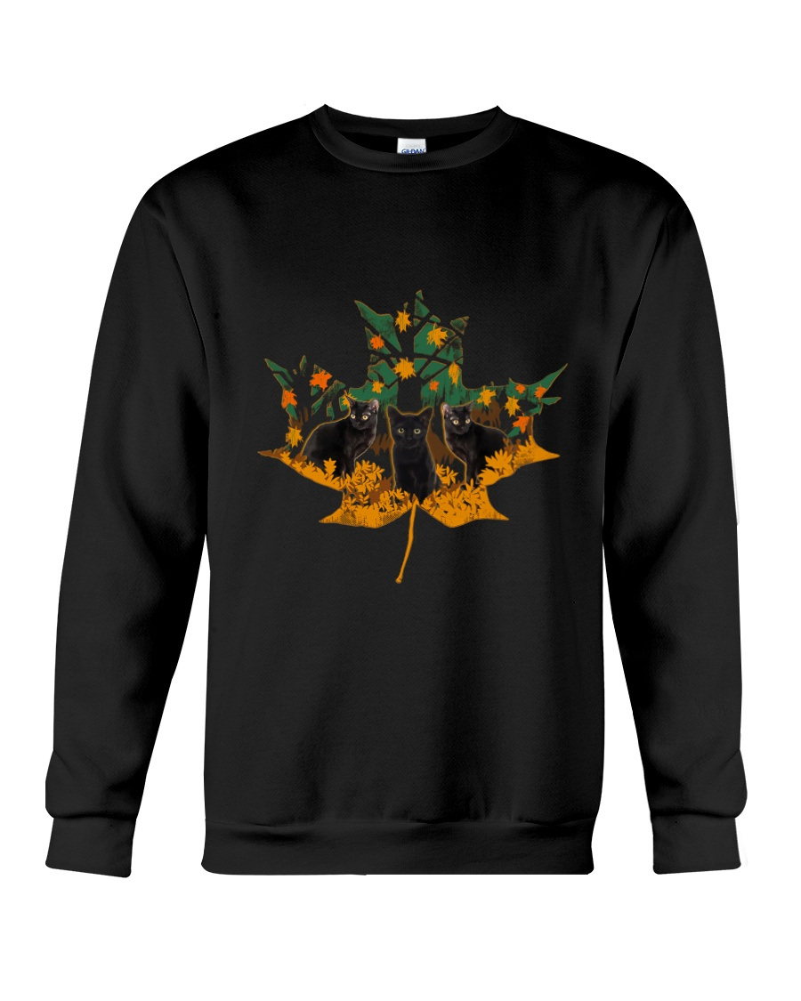 Black Cat Leaf Crewneck Sweatshirt