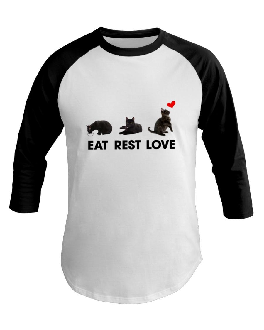 Black Cat Eat Rest Love Baseball Tee