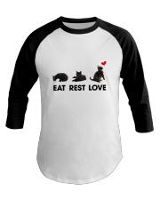 Black Cat Eat Rest Love Baseball Tee front