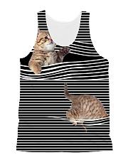 Cat Striped All-over Unisex Tank front