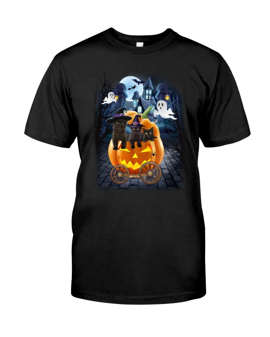 Black Cat in pumpkin carriage 0208 Classic T-Shirt
