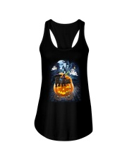 Black Cat in pumpkin carriage 0208 Ladies Flowy Tank thumbnail