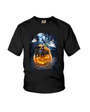 Black Cat in pumpkin carriage 0208 Youth T-Shirt thumbnail