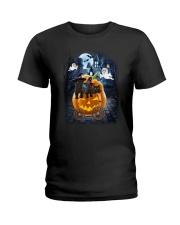 Black Cat in pumpkin carriage 0208 Ladies T-Shirt thumbnail