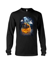 Black Cat in pumpkin carriage 0208 Long Sleeve Tee thumbnail