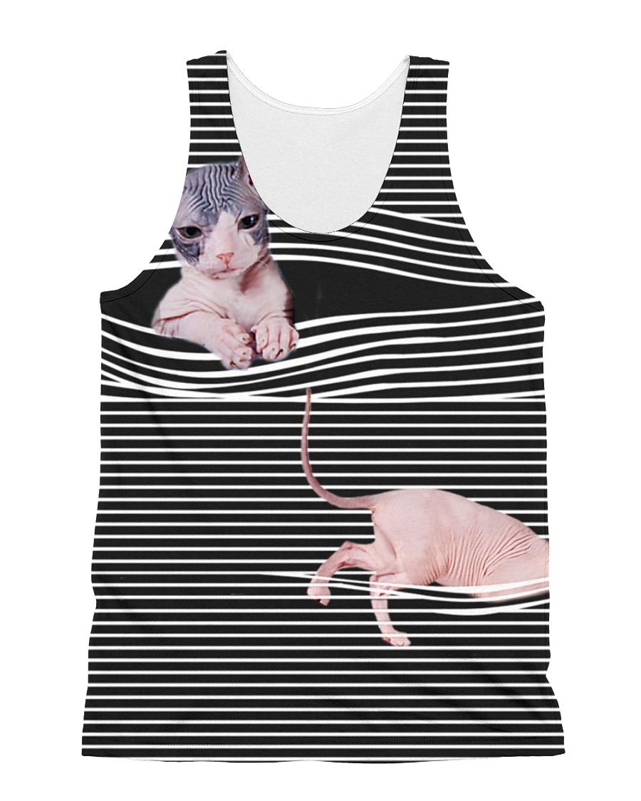 Sphynx Cat Striped  All-over Unisex Tank