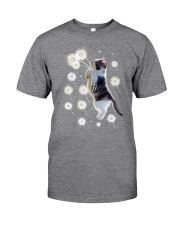Cat flying with dandelion 180319 Classic T-Shirt front