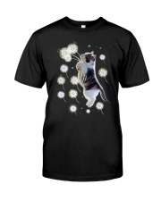 Cat flying with dandelion 180319 Classic T-Shirt tile
