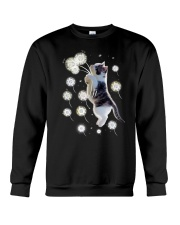 Cat flying with dandelion 180319 Crewneck Sweatshirt tile