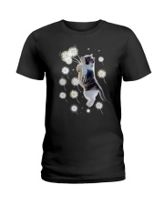 Cat flying with dandelion 180319 Ladies T-Shirt thumbnail