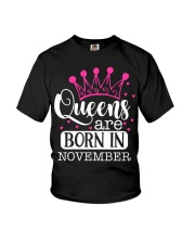 Queens Are Born In November Youth T-Shirt thumbnail