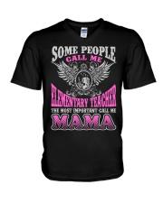 CALL ME ELEMENTARY TEACHER MAMA JOB SHIRTS V-Neck T-Shirt thumbnail