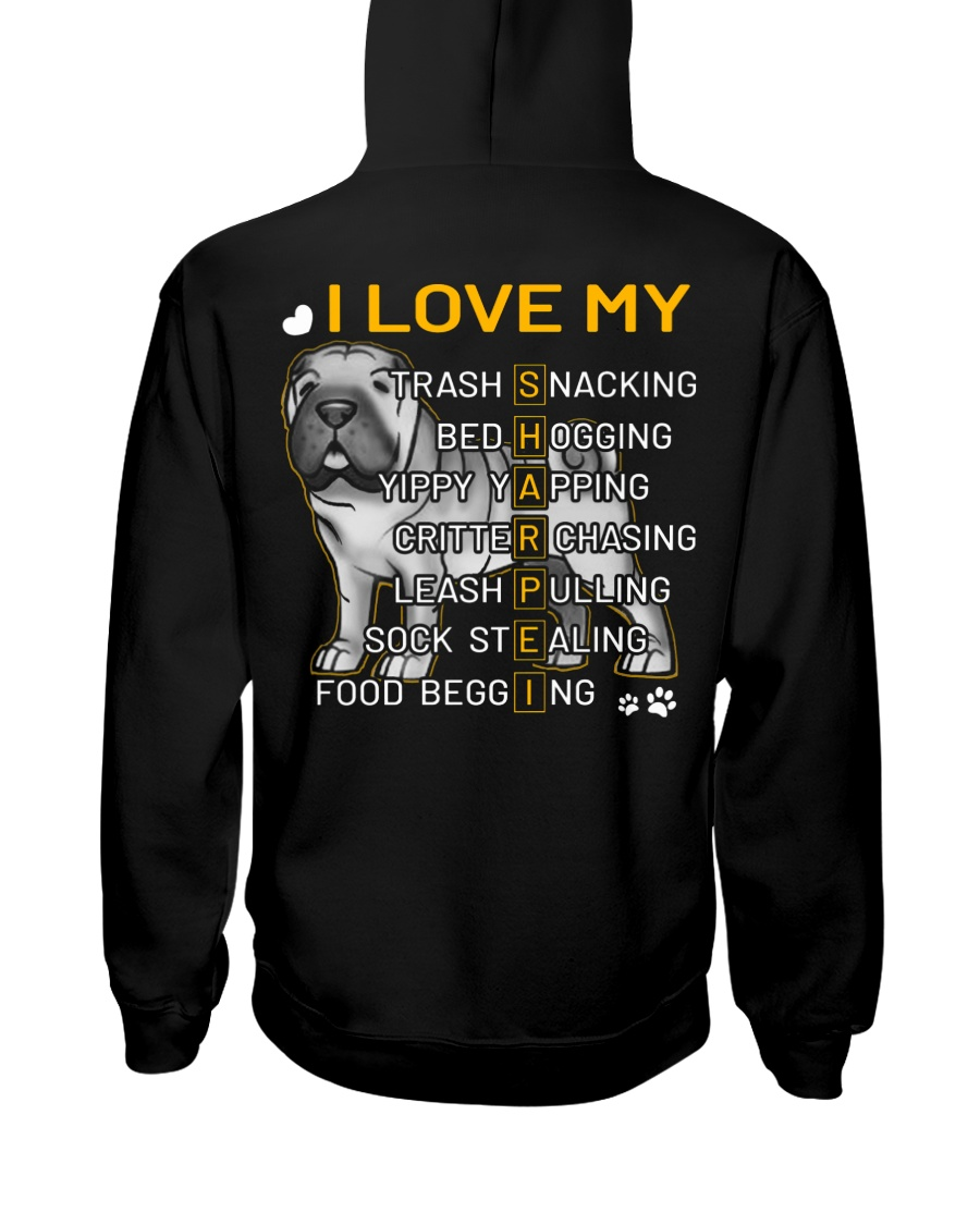 I Love My Shar Pei Dogs Hooded Sweatshirt