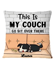 Border Collie Personalized Text Square Pillowcase back