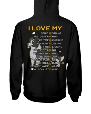 I Love My Border Collie Dog Hooded Sweatshirt back