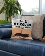 Dachshund Personalized Text Square Pillowcase aos-pillow-square-front-lifestyle-02