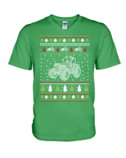 Tractor Ugly Christmas Sweater V-Neck T-Shirt thumbnail