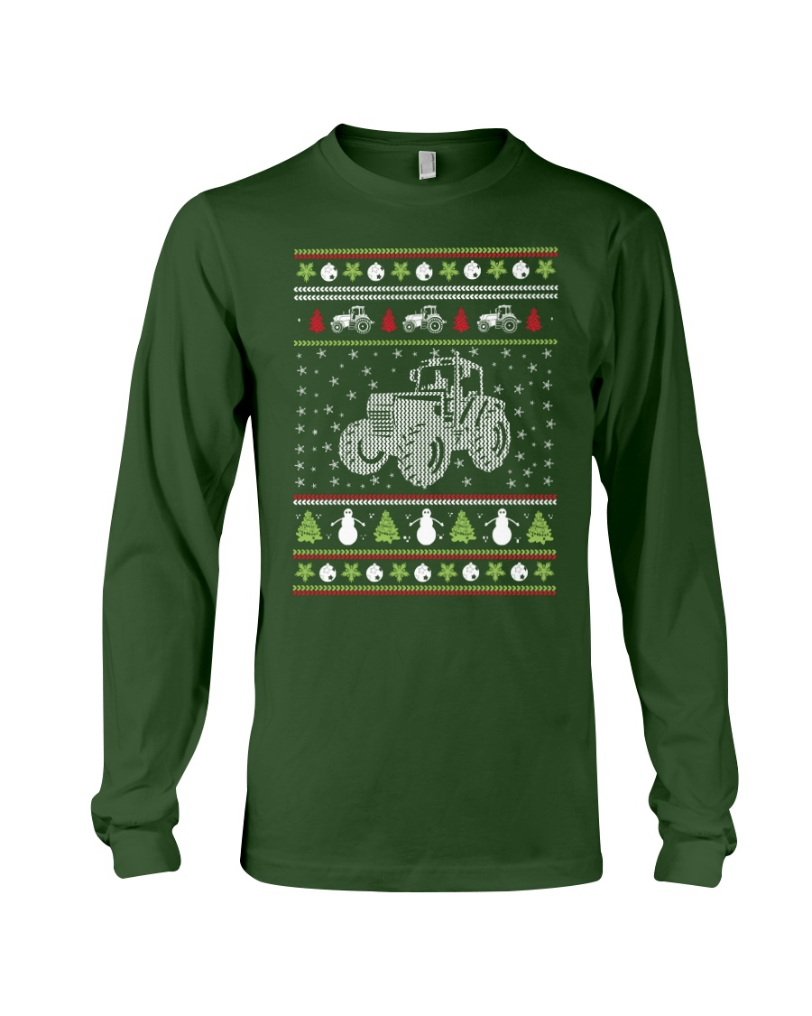 Tractor Ugly Christmas Sweater Long Sleeve Tee