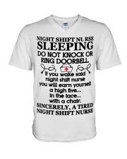 106 Night Shift Nurse Sleeping Do Not Knock Or Rin V-Neck T-Shirt thumbnail