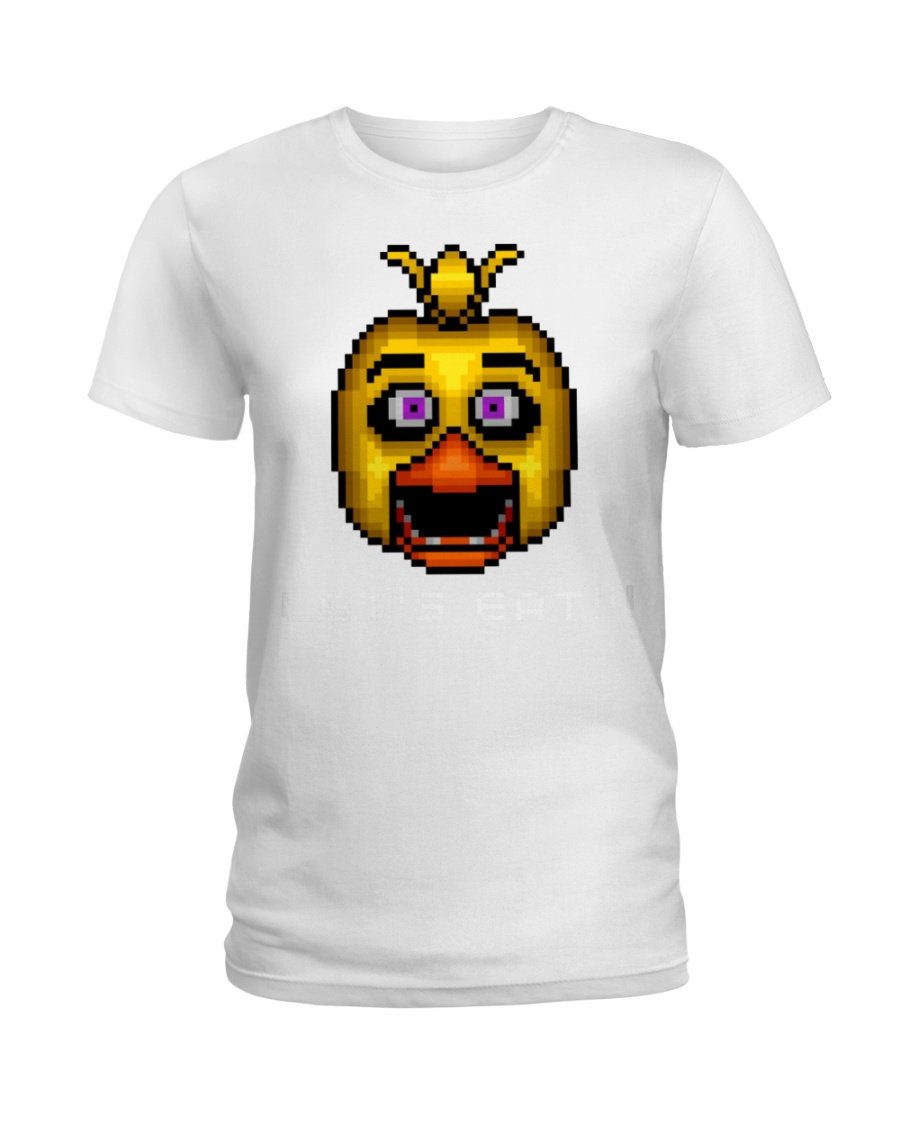 75 Five Nights At Freddys Chica Pixel Art Mens Pre Ladies T-Shirt