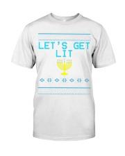 176 Lets Get Lit Funny Hanukkah Sweater Menorah Me Classic T-Shirt thumbnail